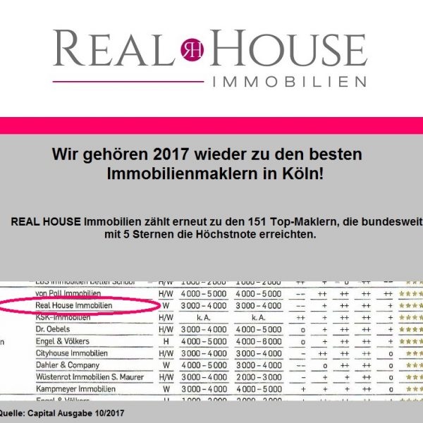 REAL HOUSE Immobilien erneut TOP Makler in Köln!